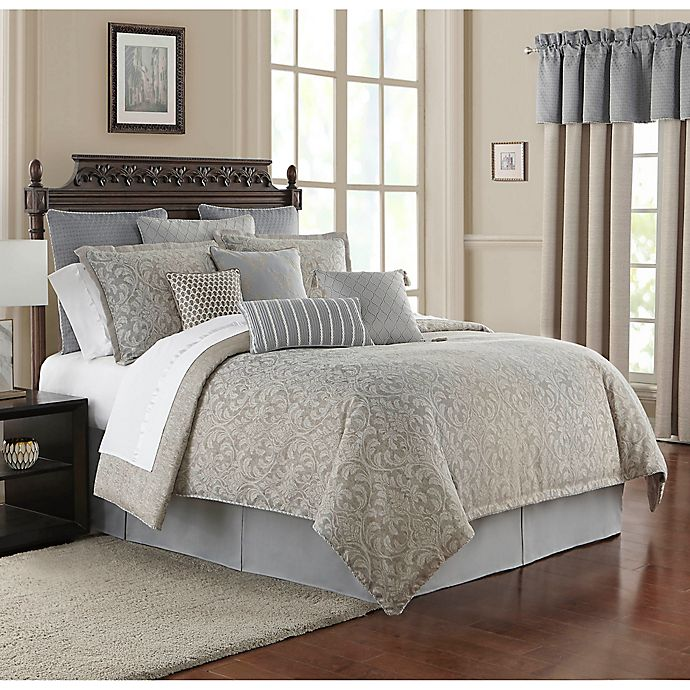 Alternate image 1 for Waterford® Baylen Queen Duvet Cover Set in Dusty Blue