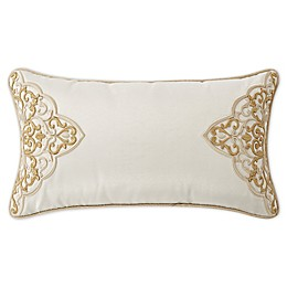 Waterford® Shelah Embroidered Oblong Throw Pillow in Ivory/Gold