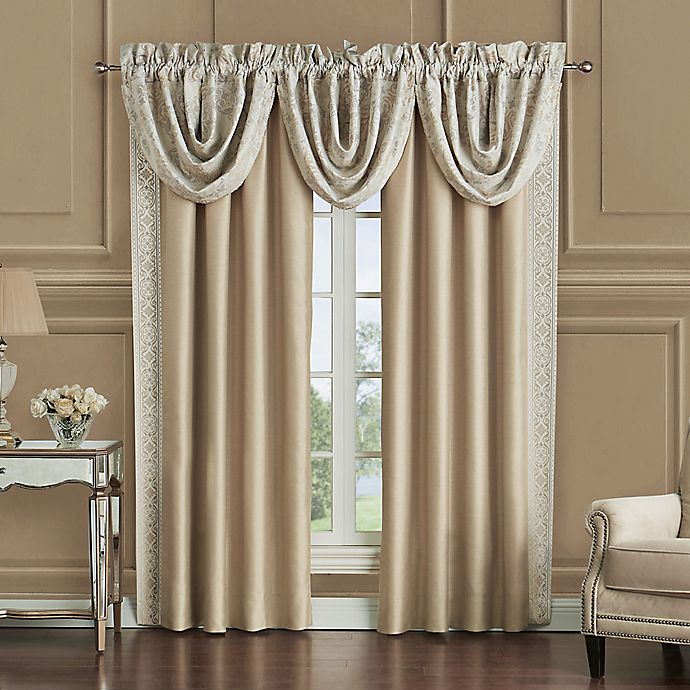 Alternate image 1 for Waterford® Shelah 84-Inch Rod Pocket Window Curtain Panel Pair in Gold/Ivory
