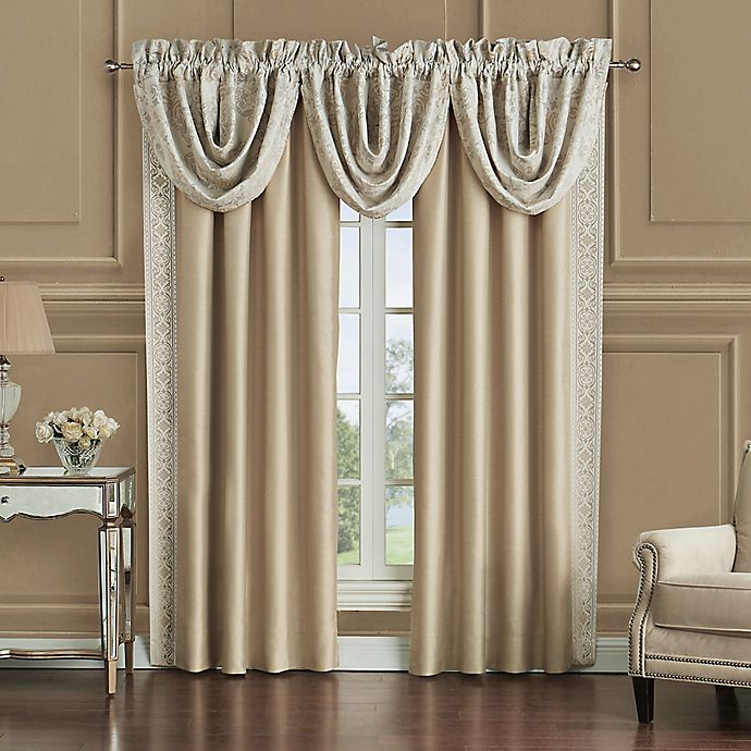 Alternate image 1 for Waterford® Shelah Cascade Valances in Gold/Ivory (Set of 3)