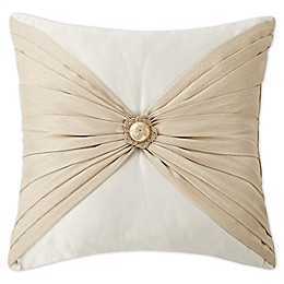 Waterford® Shelah Pleated Square Throw Pillow in Gold/Ivory