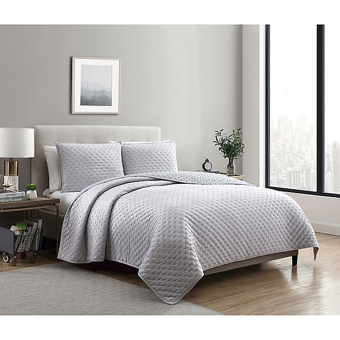 Alternate image 1 for VCNY Home Dreamy Lux 3-Piece Queen Quilt Set in Grey
