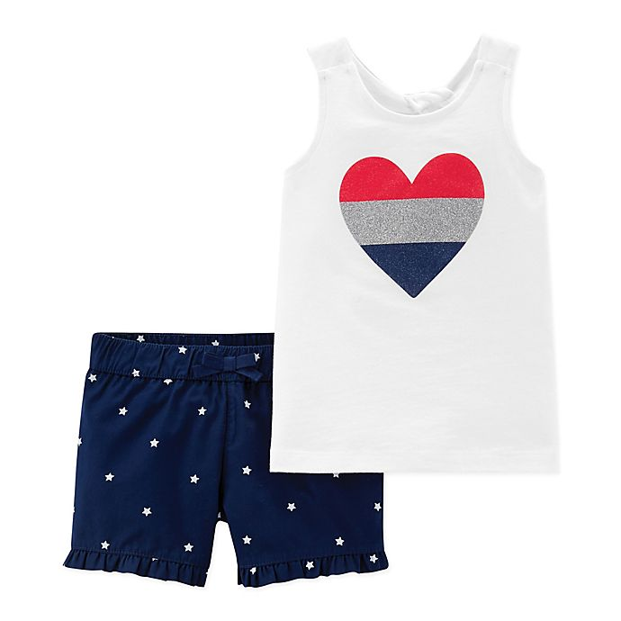 Alternate image 1 for carter's® 2-Piece Heart Sleeveless Shirt and Short Set