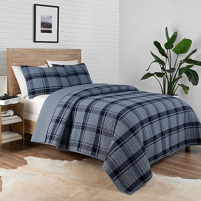 Alternate image 1 for Pendleton® Bayshore 2-Piece Reversible Plaid Twin XL Coverlet Set in Navy