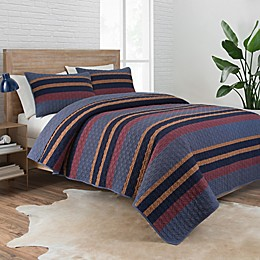 Pendleton® Lake Stripe 2-Piece Reversible Camp Twin XL Coverlet Set in Navy