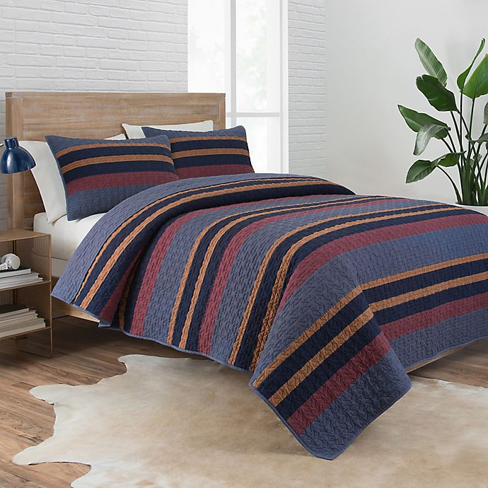 Alternate image 1 for Pendleton® Lake Stripe 2-Piece Reversible Camp Twin XL Coverlet Set in Navy