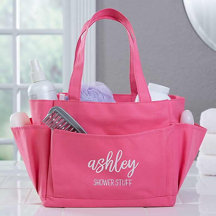 Alternate image 1 for Scripty Name Embroidered Shower Caddy