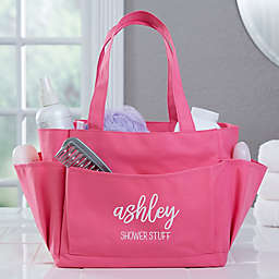 Scripty Name Embroidered Shower Caddy