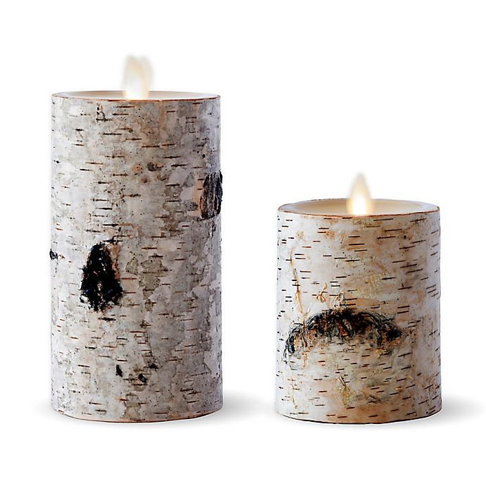 Alternate image 1 for Luminara® Birch 6-Inch Real-Flame Effect Pillar Candle in Brown