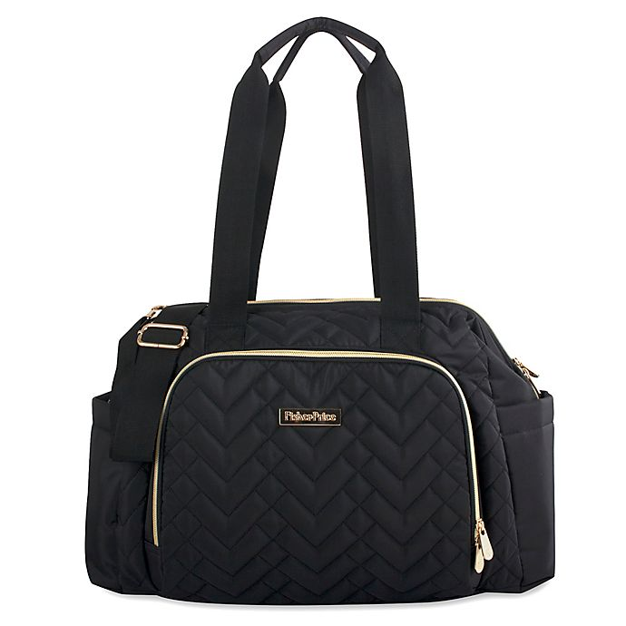 Alternate image 1 for Fisher-Price® Quilted Tote Diaper Bag in Black