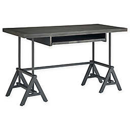 SimpliHome™ Sklar Metal and Wood Desk in Dark Brown