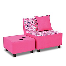Kangaroo Trading Company Wildflower Tween 3-Piece Accent Chair and Ottoman Set in Pink/White