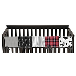 Sweet Jojo Designs Rustic Patch Long Crib Rail Guard in Red/Black