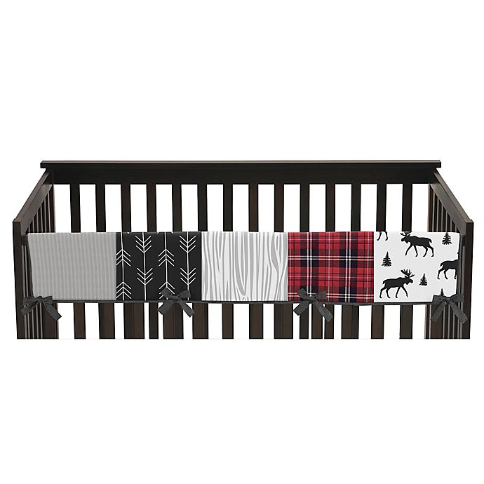 Alternate image 1 for Sweet Jojo Designs Rustic Patch Long Crib Rail Guard in Red/Black