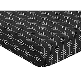 Sweet Jojo Designs Rustic Patch Arrow Microfiber Fitted Crib Sheet in Black/White