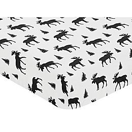Sweet Jojo Designs Rustic Patch Moose Microfiber Fitted Crib Sheet in Black/White