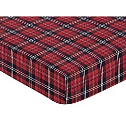 Sweet Jojo Designs® Rustic Patch Flannel Plaid Fitted Crib Sheet in Red/Black/White