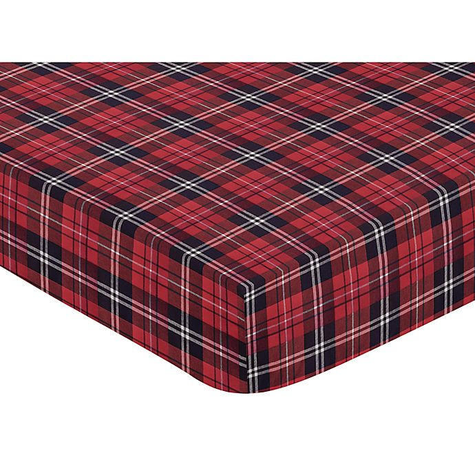 Alternate image 1 for Sweet Jojo Designs® Rustic Patch Flannel Plaid Fitted Crib Sheet in Red/Black/White
