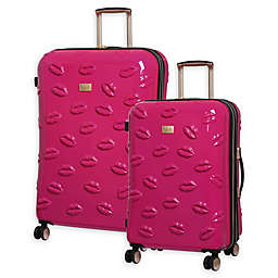 it Girl Pout Smooch Hardside Spinner Checked Luggage