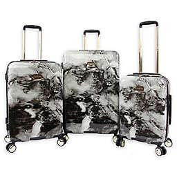 Bebe Teresa 3-Piece Hardside Spinner Luggage Set in Black Marble