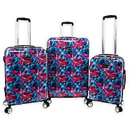 Bebe Tina 3-Piece Hardside Spinner Luggage Set in Blue/Pink