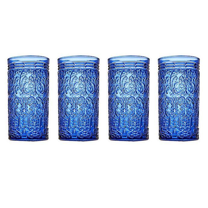 Alternate image 1 for Godinger® Jax Highball Glasses in Blue (Set of 4)