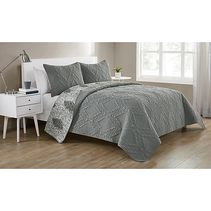 Alternate image 1 for VCNY Home Lauanna Reversible Full/Queen Quilt Set in Grey