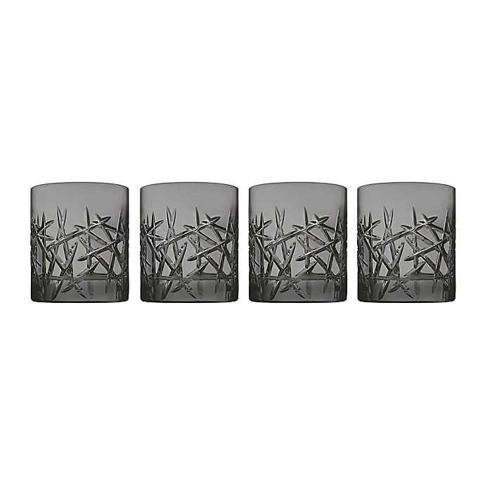 Alternate image 1 for Top Shelf Grafitti Double Old Fashioned Glasses in Smoke (Set of 4)