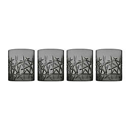 Top Shelf Grafitti Double Old Fashioned Glasses in Smoke (Set of 4)