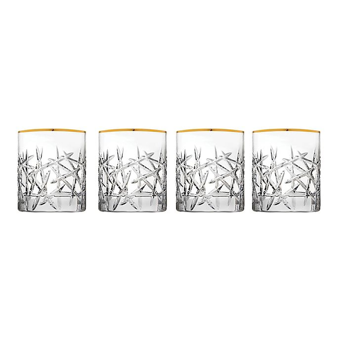 Alternate image 1 for Top Shelf Graffiti Double Old Fashioned Glasses in Gold (Set of 4)