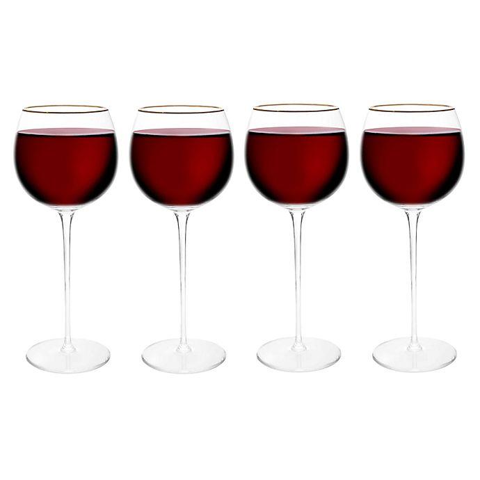 Alternate image 1 for Olivia & Oliver™ Madison Gold Red Wine Glasses (Set of 4)