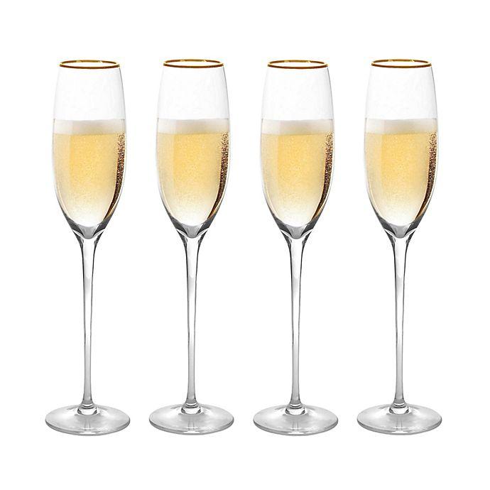 Alternate image 1 for Olivia & Oliver™ Madison Gold Champagne Flutes (Set of 4)