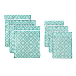 Design Imports 6-Piece Mesh Laundry Bag A Set in Aqua Lattice