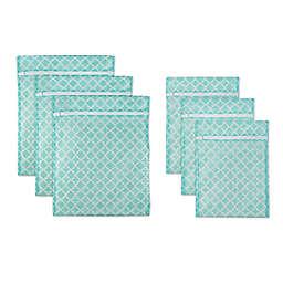 Design Imports 6-Piece Mesh Laundry Bag A Set in Aqua Lattice