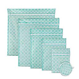 Design Imports 6-Piece Mesh Laundry Bag B Set in Aqua Lattice