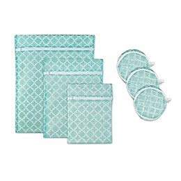 Design Imports 6-Piece Mesh Laundry Bag C Set in Aqua Lattice