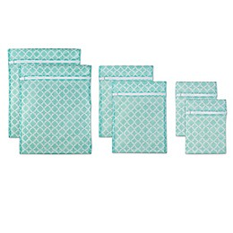 Design Imports 6-Piece Mesh Laundry Bag D Set in Aqua Lattice