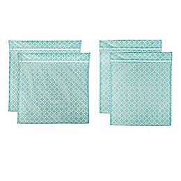 Design Imports 4-Piece Mesh Laundry Bag E Set in Aqua Lattice