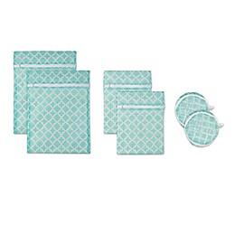 Design Imports 6-Piece Mesh Laundry Bag F Set in Aqua Lattice