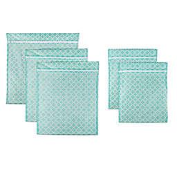 Design Imports 5-Piece Mesh Laundry Bag G Set in Aqua Lattice
