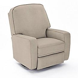 Best Chairs Custom Bilana Swivel Glider Recliner in Tan Fabrics