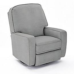 Best Chairs Custom Bilana Swivel Glider Recliner in Blue Fabrics