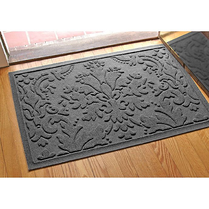 Alternate image 1 for Weather Guard™ Damask 23-Inch x 35-Inch Door Mat in Charcoal