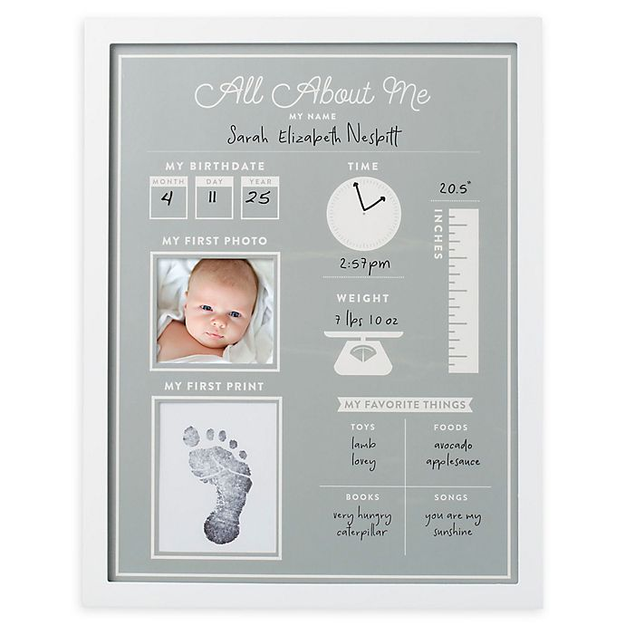Alternate image 1 for Pearhead® All About Me Baby's 1st Year Frame and Clean-Touch Ink Pad