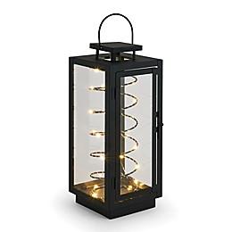 LED Stringlight Metal Lantern in Black