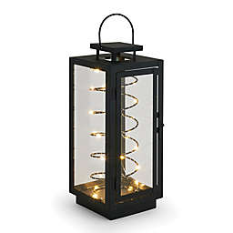 14-Inch LED Stringlight Metal Lantern in Black