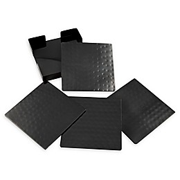 Thirstystone® Hammered Nickel Square Coasters with Holder in Black (Set of 4)
