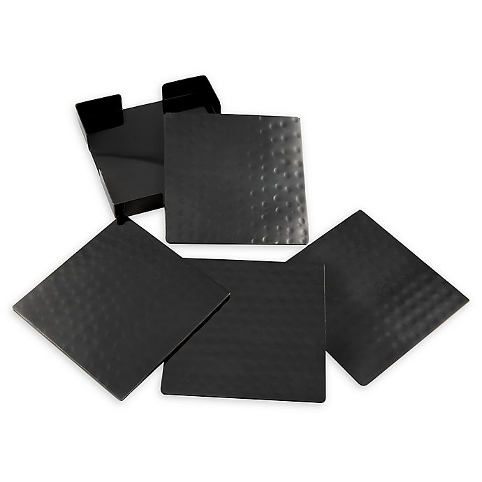 Alternate image 1 for Thirstystone® Hammered Nickel Square Coasters with Holder in Black (Set of 4)