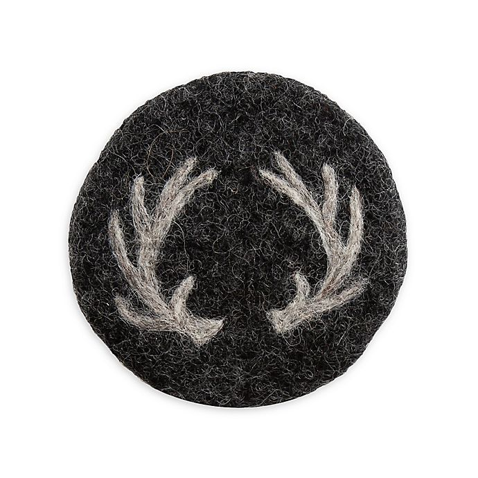 Alternate image 1 for Thirstystone® Antler Coasters in Black/White (Set of 4)
