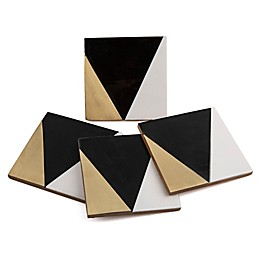 Thirstystone® Resin Square Coasters with Brass Inlay (Set of 4)